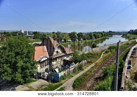 Transylvania, Targu Mures , River Mures, Typical Building , Train Line