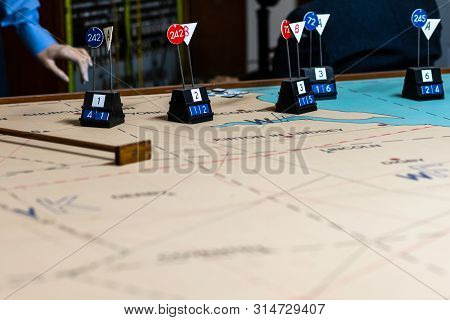 Doncaster, Uk - 28th July 2019: A Display Of An Old Spotter Table Used By The Raf During War Time In