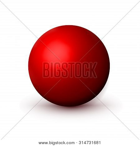 Red Matte Sphere, Ball. Mock Up Of Clean Round The Realistic Object, Velvety Orb Icon. Design Round