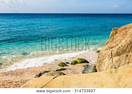 Travel Photo Of St. Barth's Island, Caribbean. The Famous Shell Beach, In St. Barth's (st. Bart's) C