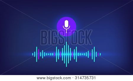 Personal Voice Assistant With Microphone And Sound Wave On Blue Background. Sound Voice Wave With Mi
