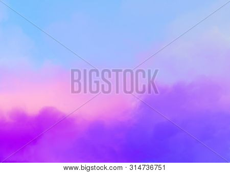 Abstract Background With Pink, Purple And Blue Colors Clouds. Dreamy Fantasy Gradient Background In