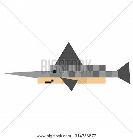 Cute 8 Bit Sailfish Vector Illustration. Swordfish Pixel Clipart. Sealife Graphic.