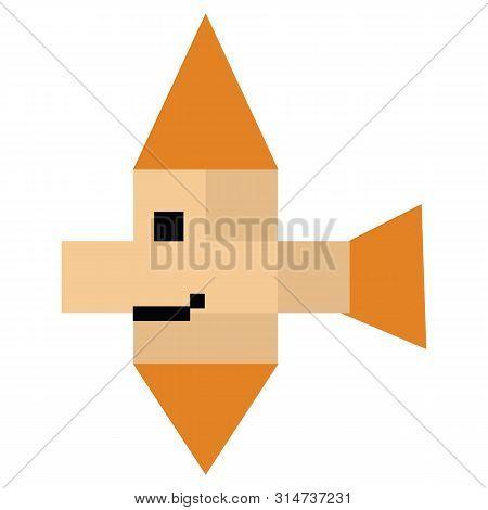 Cute 8 Bit Tropical Fish Vector Illustration. Sealife Pixel Clipart.