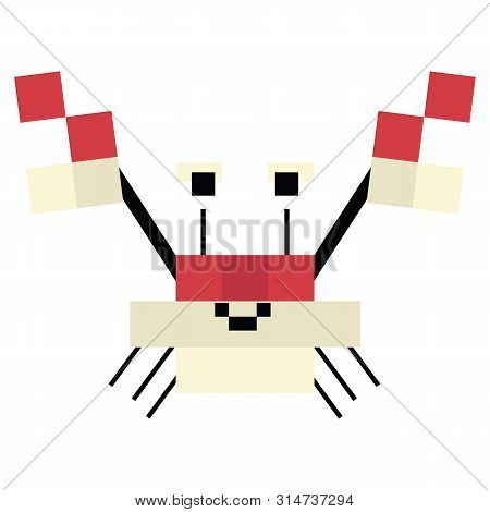Cute 8 Bit Crab Illustration. Retro Game Crustacean Vector. Pixel Sealife Clipart.