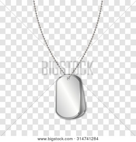 Vector Identification Tags Worn By Military Personnel. Soldier Military Dog Tag On Transparent Backg