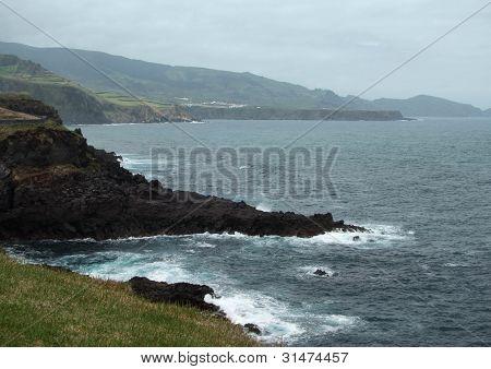 Misty Coastal Scenery At The Azores