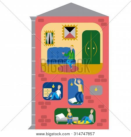 Housing Shortage Flat Style Concept Art Illustration.