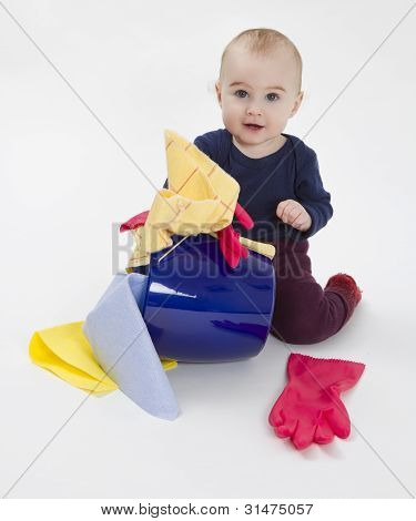 Toddler With Bucket And Floor Cloth