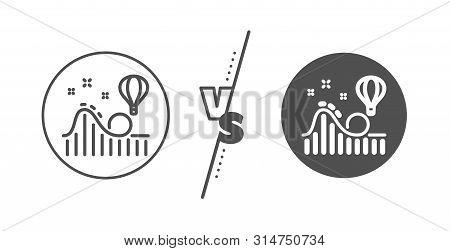 Amusement Park Sign. Versus Concept. Roller Coaster Line Icon. Carousels Symbol. Line Vs Classic Rol