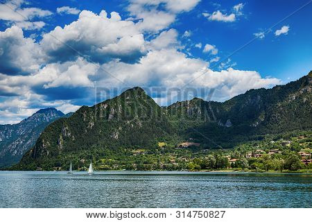 Tourist Attraction With Beatiful View Of Lake Of Idro In North Of Italy