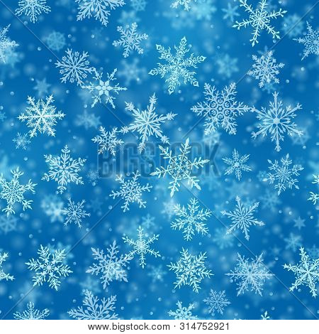 Christmas Seamless Pattern Of Complex Blurred And Clear Falling Snowflakes In Blue Colors With Bokeh