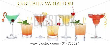 Cocktails Composition Variation Row Yellow Red Alcohol Margarita Martini Cocktails Composition With