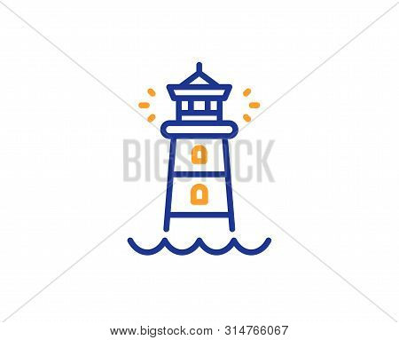 Searchlight Tower Sign. Lighthouse Line Icon. Beacon Symbol. Colorful Outline Concept. Blue And Oran