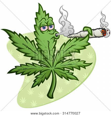 A Cheerful Marijuana Vector Cartoon Character Getting High And Smoking A Huge Rolled Up Pot Joint An