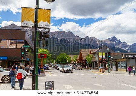 Canmore, Canada - June 29, 2019: Downtown Main Street In Canmore Kananaskis Of The Canadian Rockies.