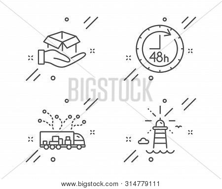 48 Hours, Hold Box And Truck Delivery Line Icons Set. Lighthouse Sign. Delivery Service, Logistics,