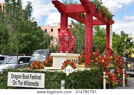Portland, Or - Jun 8: Floats From The 2019 Spirit Mountain Casino Grand Floral Parade At Moda Center