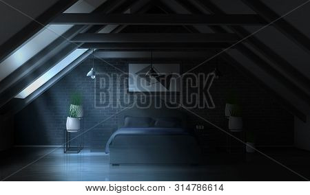 Night Bedroom On Attic, Empty Moonlight Interior Modern Home Mansard Or Hotel Apartment On Roof With