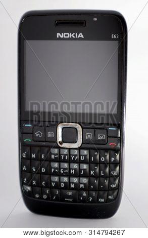 Buana Raya,bali. July 31,2019 : Vintage Phone Nokia E63 Isolated On White Background