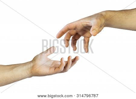 Hand Grabbing Gesture. Begging Hand Gesture. Human Hand. Hand Gestures Isolated On White Background.
