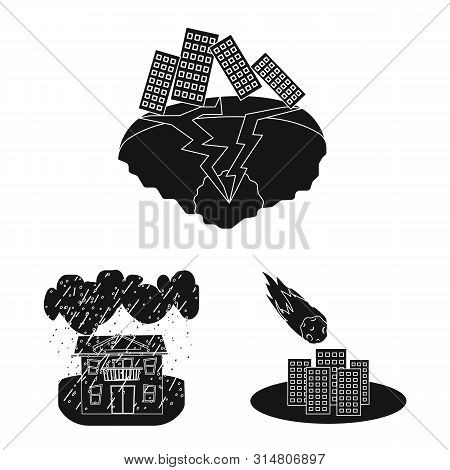 Vector Illustration Of Calamity And Crash Sign. Collection Of Calamity And Disaster Stock Vector Ill