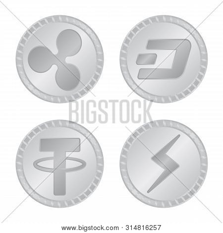 Vector Illustration Of Cryptography And Finance Logo. Collection Of Cryptography And E-business Stoc