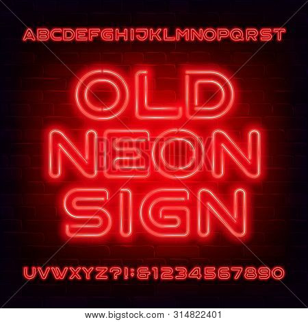 Old Neon Sign alphabet font. Orange light bulb letters and numbers. Stock vector typescript for your typography design. Dark brick wall background. poster