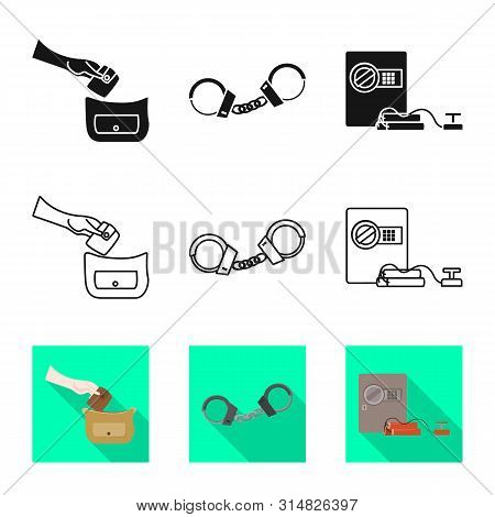 Vector Illustration Of Crime And Steal Sign. Collection Of Crime And Villain Vector Icon For Stock.