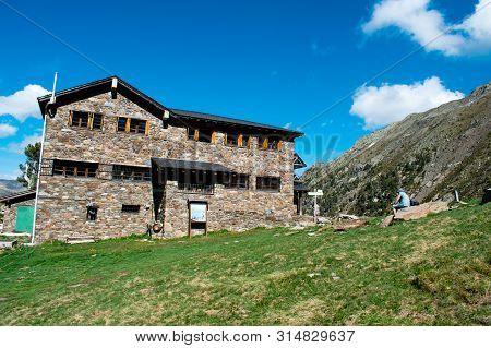 Refuge Comapedrosa In Andorra Mountains, Pyrenees At Summer. Refugi De Coma Pedrosa