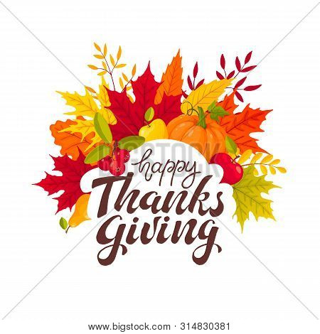 Happy Thanksgiving Banner With Bright Colorful Pumkin, Apples And Leaves. Autumn Foliage Vector Illu