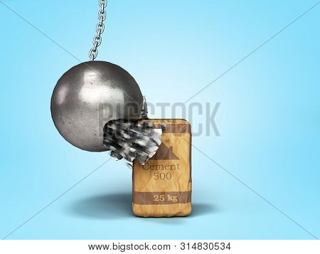 Concept Of Durable Building Materials Crane Hammer Breaks On Cement Packaging 3d Render On Blue Grad