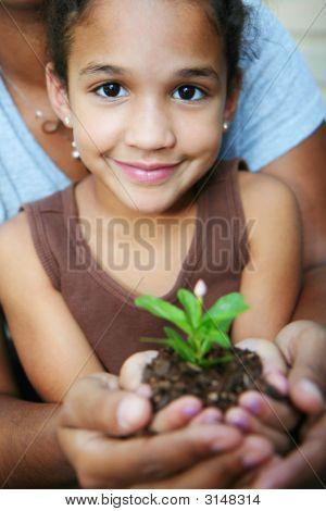 Chica sosteniendo la planta