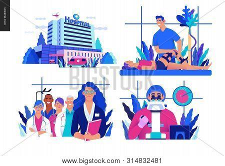 Set Of Medical Insurance Illustrations - Hospital, Orthopedic Traumathology, Hospital Administrator,