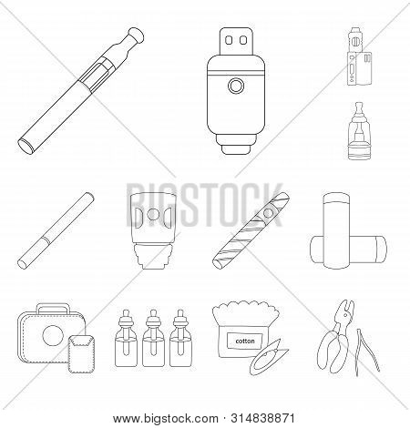 Vector Design Of Nicotine And Filter Icon. Collection Of Nicotine And Pipe Stock Vector Illustration