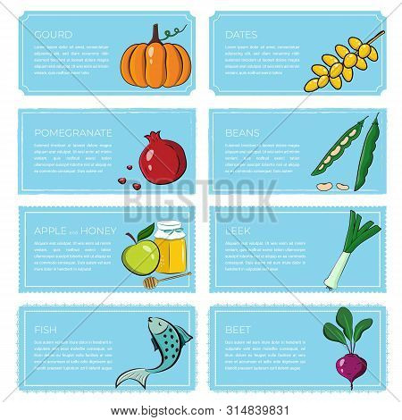 Rosh Hashana Greeting Banners With Symbols Of Jewish New Year Holiday Blessing Of Happy And Sweet Ne
