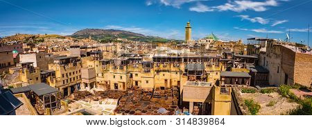 Fes, Morocco. Old Town Panorama, Tanneries And Tanks With Color Paint For Leather. Morocco Africa