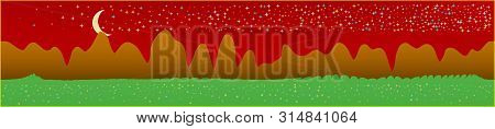 Red Sky, And Mountains Landscape. Plain Horizontal Background Illustration. Trendy Fairy Tale Plain
