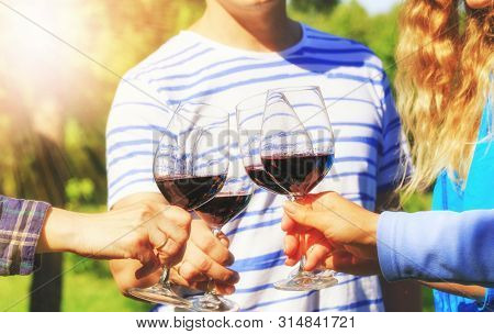Family Of Different Ages People Cheerfully Celebrate Outdoors With Glasses Of Red Wine, Proclaim Toa