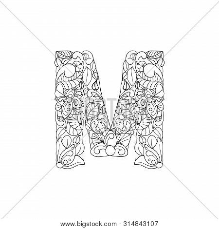 Coloring Book Floral Ornamental Alphabet, Initial Letter M Font. Vector Typography Symbol. Antistres
