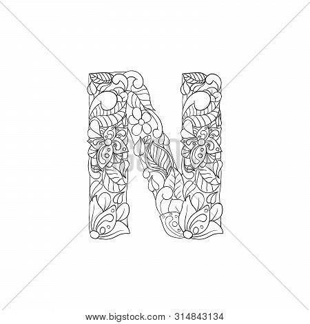 Coloring Book Floral Ornamental Alphabet, Initial Letter N Font. Vector Typography Symbol. Antistres