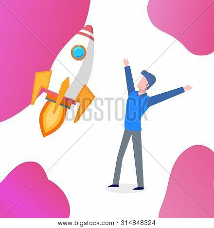 Happy Entrepreneur With Flying Rocket Vector. Successfully Launched Startup, Businessman Excited Fro