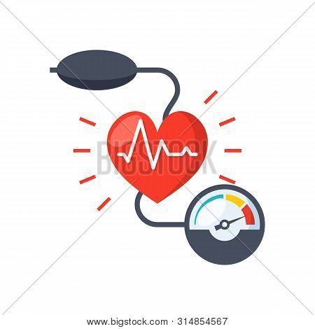 Blood Pressure Concept With Blood Pressure Meter And Heart