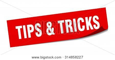 Tips And Tricks Sticker. Tips Tricks Square Isolated Sign. Tips And Tricks