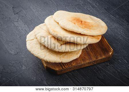 Pita Bread On Wooden Board, Arabic Bread, Soft Baked Flatbreads