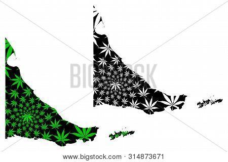 Tierra Del Fuego Map Is Designed Cannabis Leaf Green And Black, Provincia De Tierra Del Fuego, Antár
