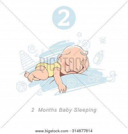 Little Baby Of 2 Month. Baby Development Milestones In First Year.