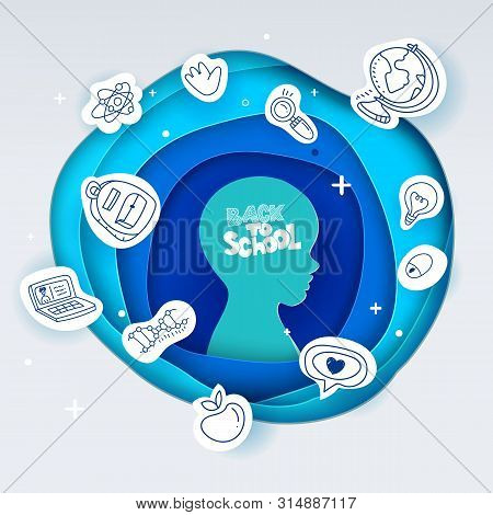 Vector Illustration For Back To School. Paper Art Cut Out Circle Layers With Kids Head And Back To S