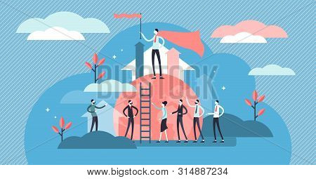 Leading Vector Illustration. Flat Tiny Business Team Leader Persons Concept. Motivational And Inspir