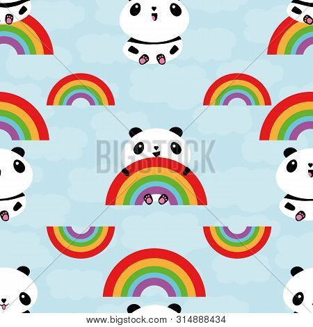 Cute Kawaii Style Laughing Pandas And Rainbows Seamless Vector Pattern On Cloud Textured Blue Backgr
